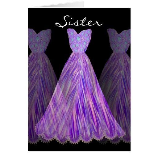 SISTER - Maid of Honor SHADES OF PURPLE Dresses Cards