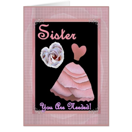 SISTER Maid of Honour Invitation PINK Dress