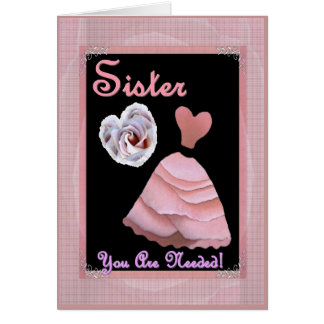 SISTER Maid of Honour Invitation PINK Dress Card