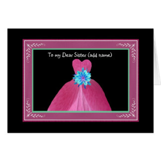 SISTER Maid of Honour Invitation PINK Gown Cards