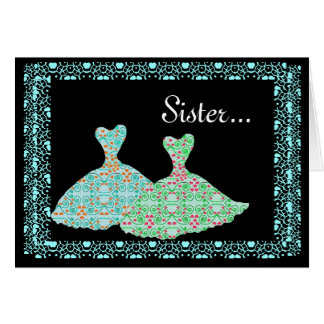 SISTER Maid of Honour Invite Blue & Green Gowns