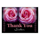 SISTER Maid of Honour Wedding Thank You Pink Roses Greeting Cards