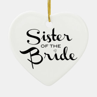 Sister of Bride Black on White Christmas Tree Ornament
