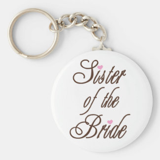 Sister of Bride Classy Browns Basic Round Button Key Ring