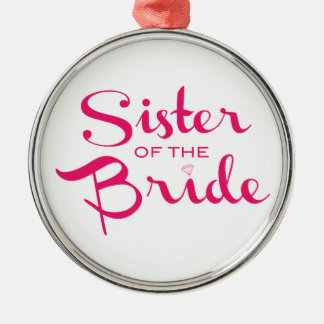 Sister of Bride Pink on White Christmas Tree Ornament