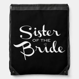 Sister of Bride White on Black Drawstring Bag