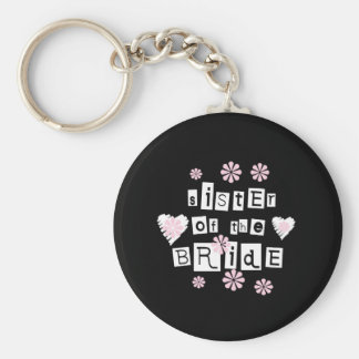 Sister of Bride White on Black Key Ring