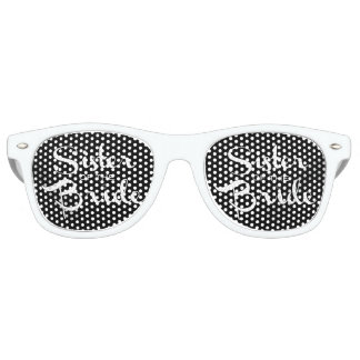 Sister of Bride White on Black Retro Sunglasses