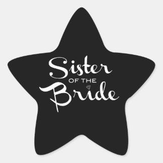 Sister of Bride White on Black Star Sticker