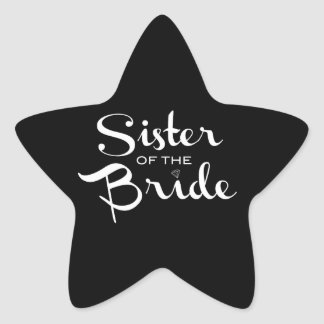 Sister of Bride White on Black Stickers