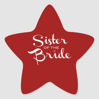 Sister of Bride White on Red Star Sticker