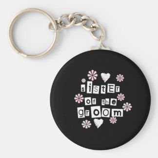 Sister of Groom  White on Black Basic Round Button Key Ring