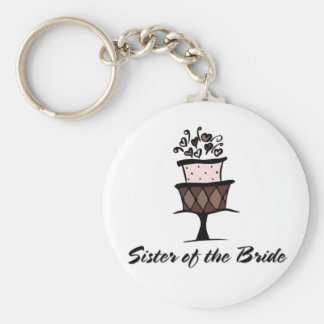 Sister of the Bride Cake Basic Round Button Key Ring