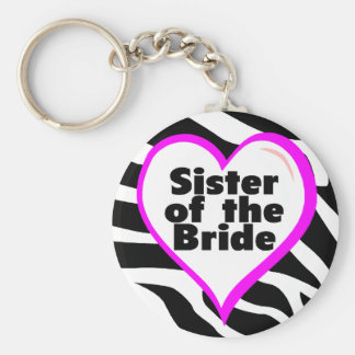 Sister of the Bride (Heart Zebra Print) Basic Round Button Key Ring