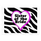 Sister of the Bride (Heart Zebra Print) Postcard