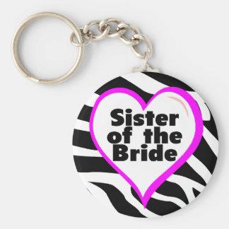 Sister of the Bride (Heart Zebra Stripes) Basic Round Button Key Ring