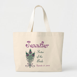 Sister of the Bride Peacock Feather Teal Purple Jumbo Tote Bag