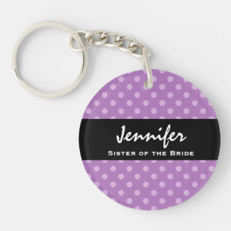 SISTER OF THE BRIDE Purple Polka Dot Wedding Gift Double-Sided Round Acrylic Key Ring