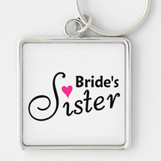 Sister of the Bride Silver-Colored Square Key Ring