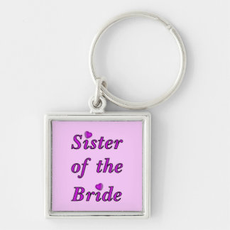 Sister of the Bride Simply Love Silver-Colored Square Key Ring