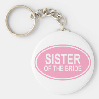 Sister of the Bride Wedding Oval Pink Basic Round Button Key Ring