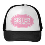 Sister of the Groom Wedding Oval Pink Mesh Hat