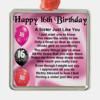 Sister Poem  -  16th Birthday Silver-Colored Square Decoration