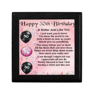 sister poem - 50th birthday design gift box