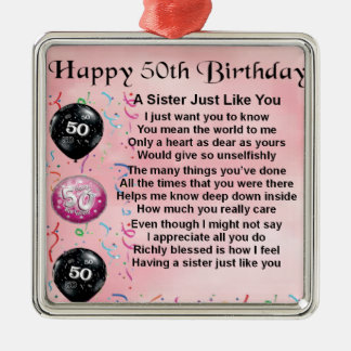 sister poem - 50th birthday design Silver-Colored square decoration