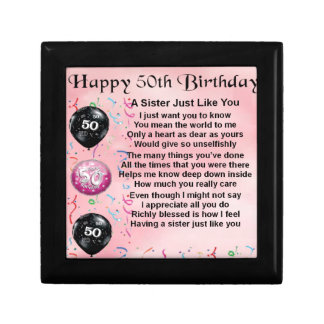 sister poem - 50th birthday design small square gift box