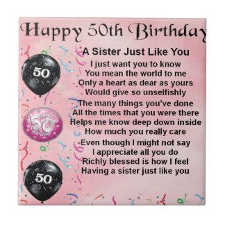 sister poem - 50th birthday design tile