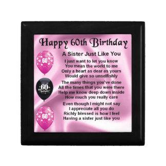 Sister poem  -  60th Birthday Small Square Gift Box
