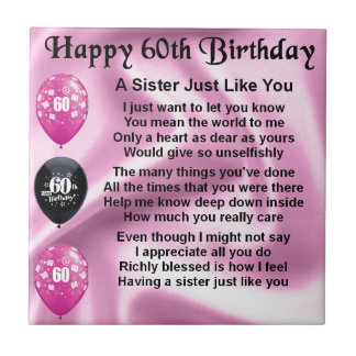 Sister poem  -  60th Birthday Tile