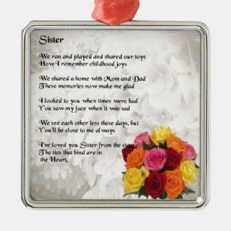 Sister Poem - Flowers Silver-Colored Square Decoration