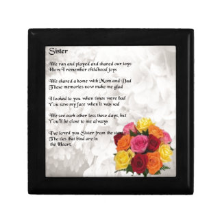 Sister Poem - Flowers Small Square Gift Box