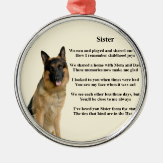 Sister Poem - German Shepherd Dog Silver-Colored Round Decoration