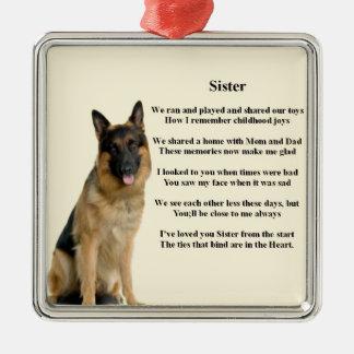 Sister Poem - German Shepherd Dog Silver-Colored Square Decoration