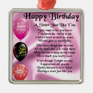 Sister Poem - Happy Birthday Design Silver-Colored Square Decoration