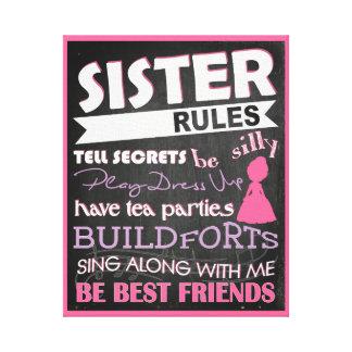 Sister Rules Sentiment Art Canvas Print