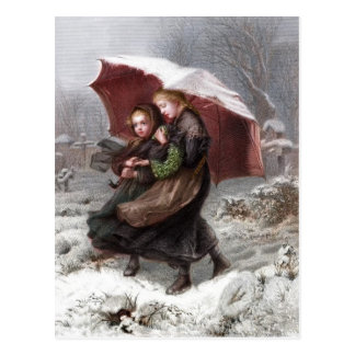 Sister s in Winter Postcard