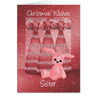 Sister Sparkle Christmas Greeting Card Dusky Pink