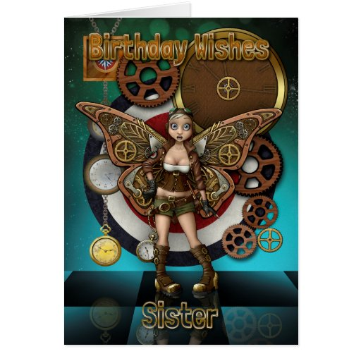 Sister Steempunk Fairy, Cogs And Clocks Greeting Card