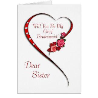 Sister, Swirling heart Chief Bridesmaid invite