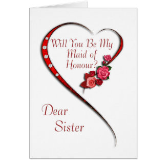 Sister, Swirling heart Maid of Honour invitation