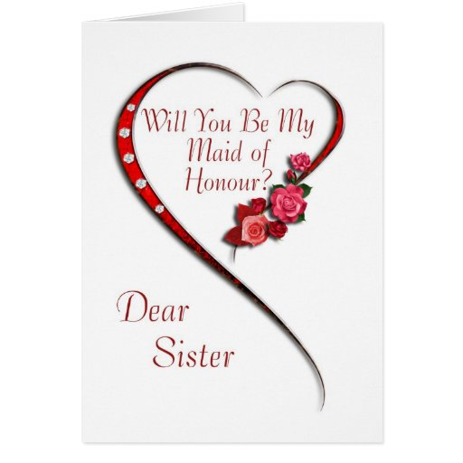 Sister, Swirling heart Maid of Honour invitation Greeting Card