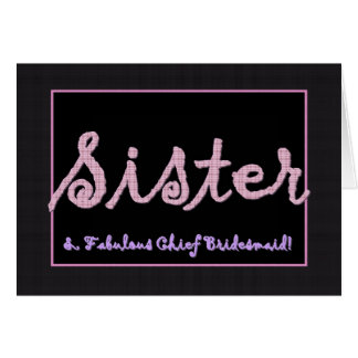 SISTER Thank You Chief Bridesmaid Plaid Lettering Card