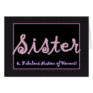 SISTER Thank You Matron of Honour Plaid Lettering Card