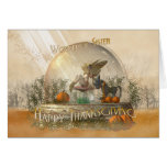 Sister Thanksgiving Card With Fairy In A Globe Fal