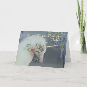 Sister Unicorn Birthday Card Magical Birthday