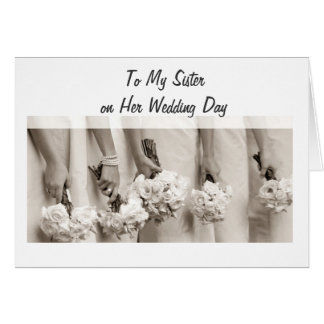 SISTER WEDDING LOVE AND HAPPINESS GREETING CARDS